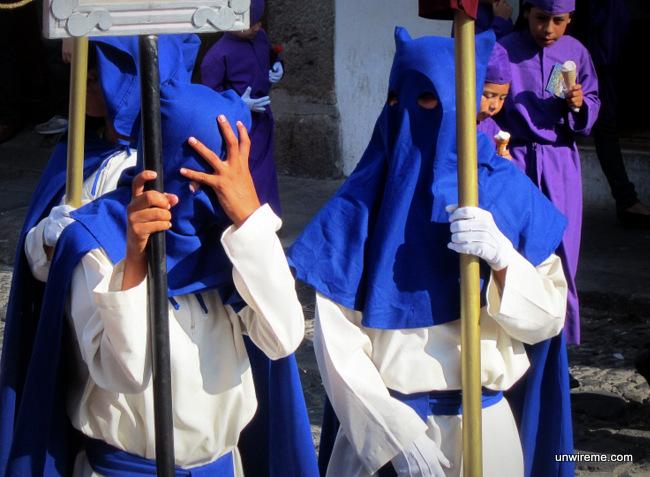 Cucurucho Children in Blue outfit - Antigua Guatemala
