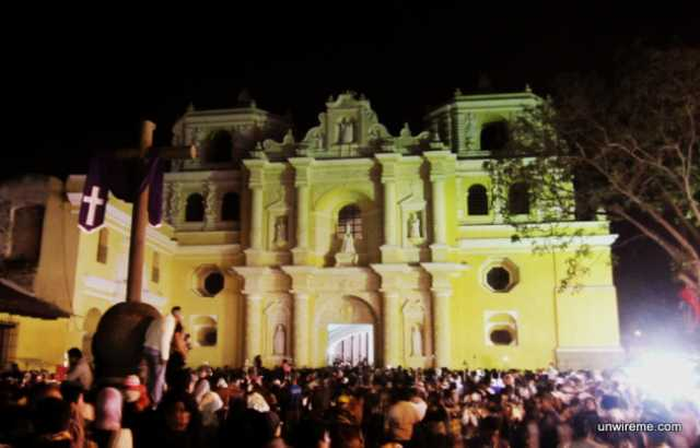 Waiting for Procession to Start in Front of La Merced Church