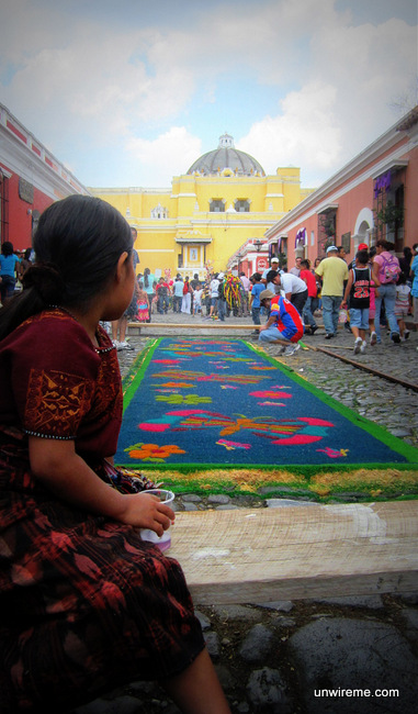 Mayan Girl Looks at Alfombra - holy week photos Antigua Guatemala