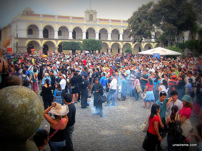 Crowd waiting for procession to start - Antigua Guatemala