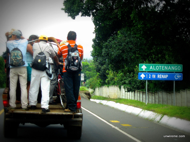 Overloaded pickup truck