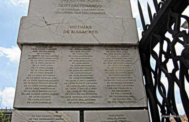 Monument to genocide victims in Guatemala's Civil War