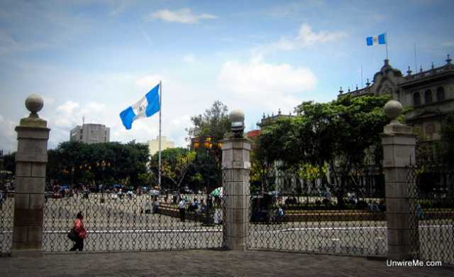 View of Guatemala's main plaza from the Cathedral