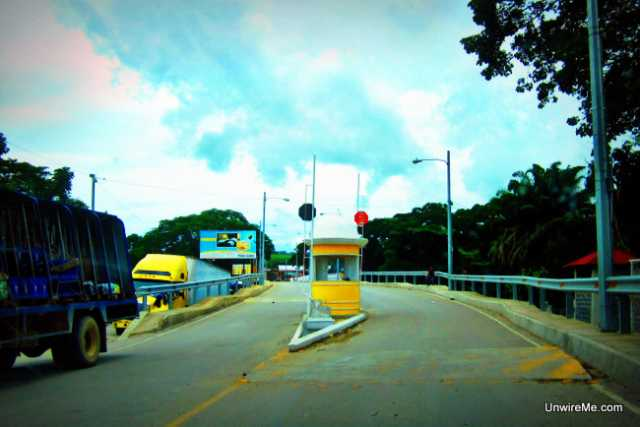 Belize - Guatemala bridge tollbooth
