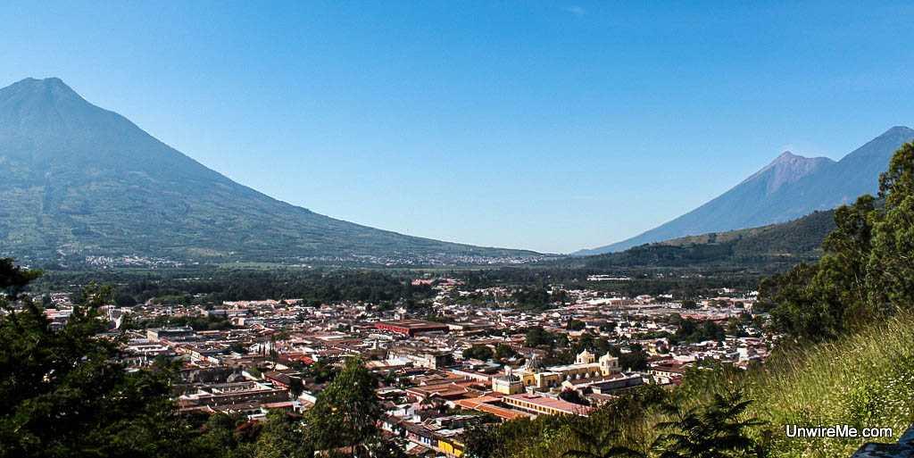 Three volcanoes are visible from cerro de la cruz