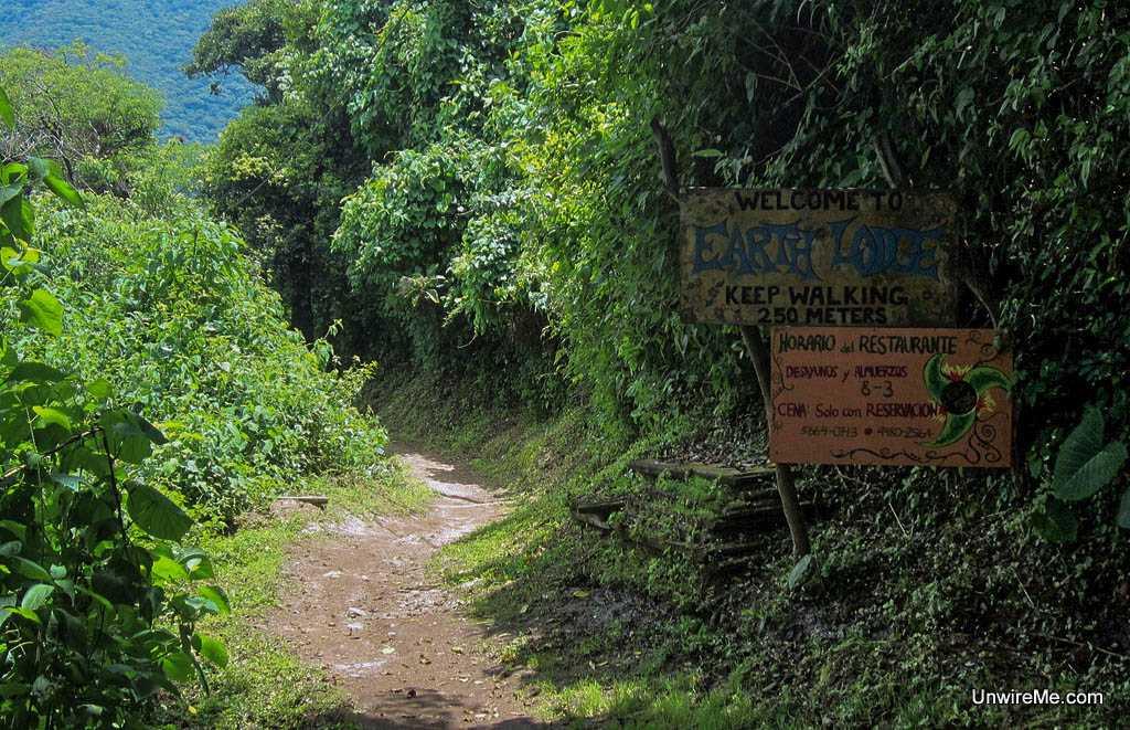 dirt path, earth lodge