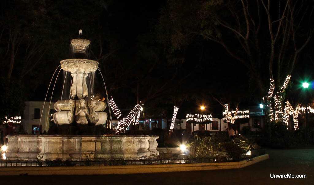 Parque central at night - Antigua Guatemala expat