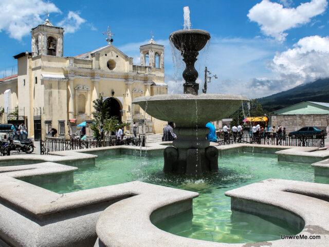 Fountain and Alotenango Church