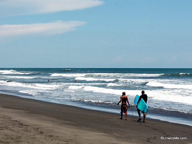 Surfing lesson on the Pacific Coast, Guatemala