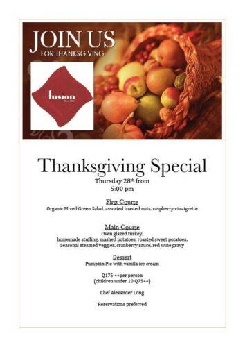 Thanksgiving Day menu fusion restaurante