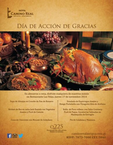 Thanksgiving Day menu at Las Velas