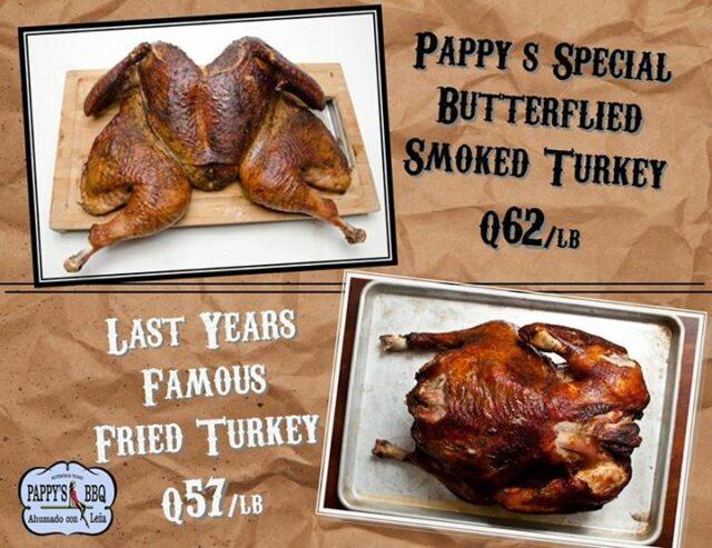 Thanksgiving Day menu at Pappys BBQ Antigua Guatemala