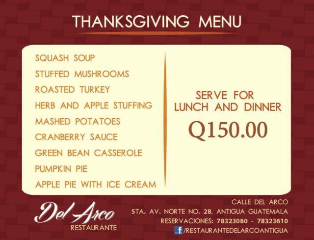Thanksgiving day in Antigua at Restaurante Del Arco