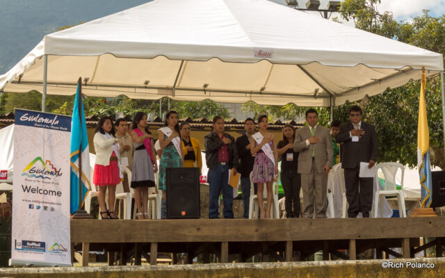 Singing the Guatemalan anthem to kick off the festival