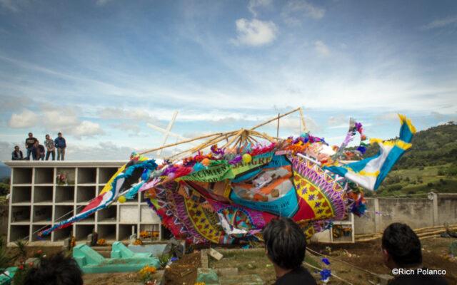 wind takes giant kite down in Santiago Sacatepequez guatemala