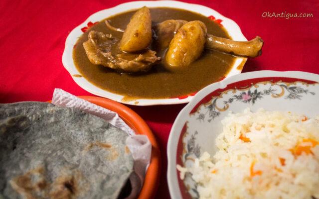 Pepian, rice, and black corn tortillas