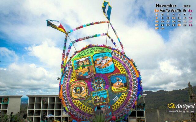 Giant kites in Santiago Sacatepequez