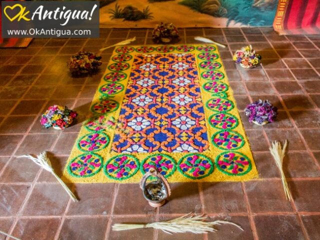 alfombra - sawdust carpet, holy week museum, antigua guatemala